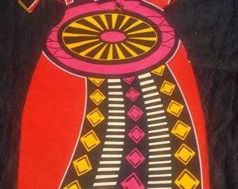 Red/Black/Pink African print dress and head wrap.