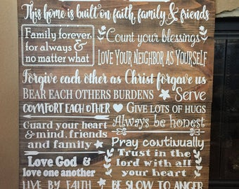 Family Rules - Family Rules Sign -  House Rules - House Rules Sign - Family Rules Wood Sign - Personalized Wood Sign