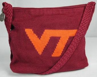 The Sak Handmade Burgundy Orange Virginia Tech VT Hokies Crocheted Knit Shoulder Bag College Football Game Day Purse