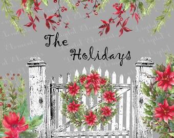 Digital Clipart, Digital Watercolor Christmas Clip-art, Digital Watercolor Clip-art, Poinsettia Florals, Vintage Flower Bouquets. No. WC20