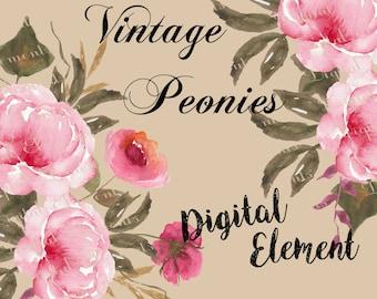 Watercolor Flower Clipart, Floral Clipart, Digital Peony Clipart, Wedding Florals, Watercolor Peonies, Scrapbook Clipart. No. WC22