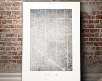 tucson map city street map of tucson arizona art print watercolor illustration wall - Home Decor Tucson