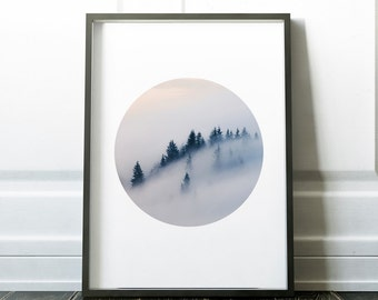 Forest Print, Circle Print, Misty Forest, Photography, Printable Art, Instant Download, Modern Wall Art,  trees,