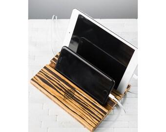 Tablet iPad Phone Stand Men Personalized Dock Charging Station Wood Wedding Groomsman Monogram Double Slot Tiger Stripe