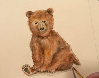 8.5x11 Brown Bear Watercolor on Glossy Cover Paper