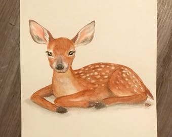 8.5x11 Watercolor Fawn / Deer / Doe on Glossy Cover Paper