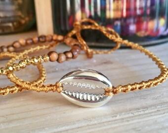 Bracelet lien coquillage en argent 925