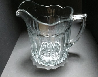 Vintage Glass Pitcher with Scalloped Edge - 48 ounces