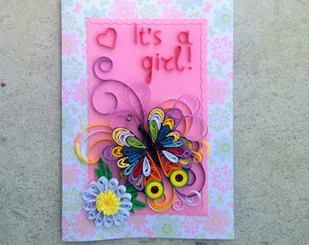 Handmade quilling card/Newborn girl quilling card/Quiling butterfly card/Pink quilling card/