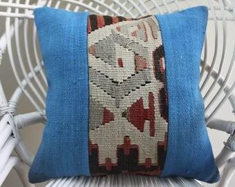 turkish pillows blue color 16x16 kilim patchwork pillow cover striped kilim pillows 16x16 geometric kilim pillow 2112
