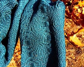 Ocean Blue Handwoven Autumn-winter Shawl/Scarf Turquoise
