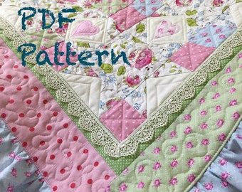 Ruffle Baby Quilt Pattern, Lace Quilt pattern, baby blanket pattern, baby girl quilt pattern, lace baby quilt pattern, pdf quilt pattern