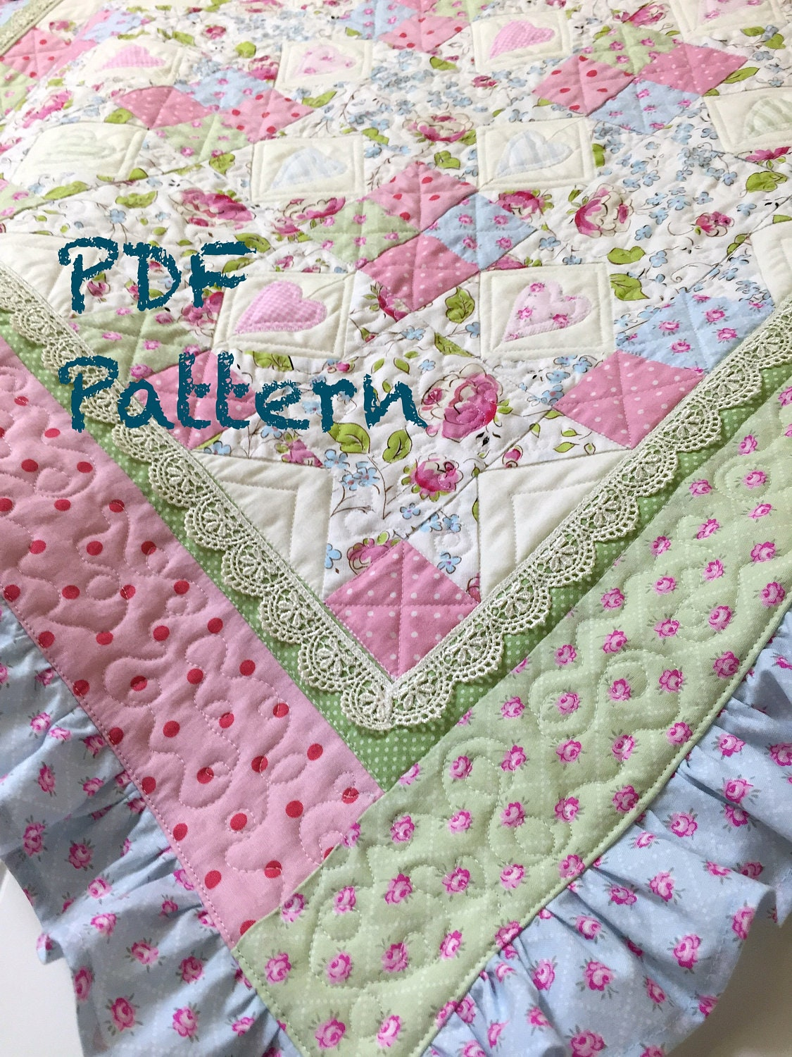 Ruffle Baby Quilt Pattern, Lace Quilt pattern, baby