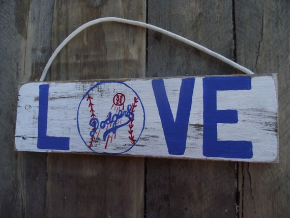 Los Angeles Dodgers Sign Baseball Sign Hand Painted Sign