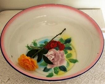 Vintage Romantic Bumper Harvest Large Enamel Bowl with Roses