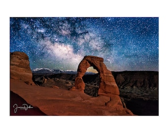Milky Way Photo, Night Sky, Mountain Photography, Utah Photography, Utah Landscape, Arches National Park, Delicate Arch, Matted Print
