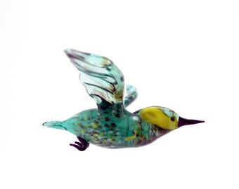 Stained glass Kingfisher suncatcher.art glass bird.home decor.glass birds.fused glass.bird ornament.fused glass bird.murano glass bird(p15)