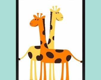 safari animals print, giraffe print, nursery printables, nursery decor, baby room decor, childrens room decor, digital download, wall art