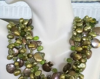 Beautiful chunky multistrand green pearl, peridot and crystal torsade necklace with Unakite clasp