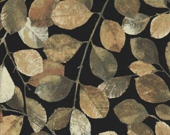 Shades of Autumn - Per Yd - PB Textiles - Norman Wyatt - Beyond Beautiful** Sm Leaves on Black