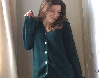 Vintage Emerald Green Women's Cardigan, UK 10-12