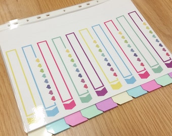 Colourful A4 Dividers with Contents Page with Polka Dot Hearts