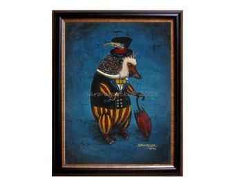 Victorian Gentleman Hedgehog Print