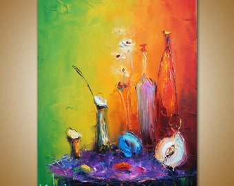 Colorful Oil Painting, Still Life Painting, Modern Art, Original Artwork Canvas Painting, Palette Knife. Abstract Canvas Art, Kitchen Decor