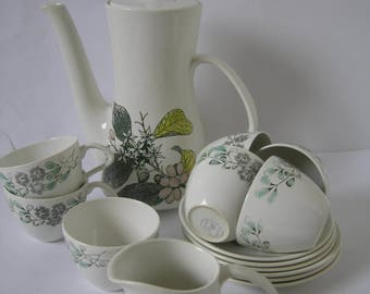 Poole Pottery Coffee Pot six demitasse cups sugar bowl and creamer