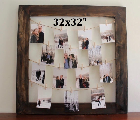 Rustic Clothespin Picture Frame Photo Display By Thebearries