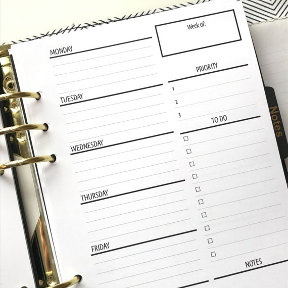 2WO2P - Two Weeks On Two Pages With/Lists Printed Planner Inserts | Half Letter Size for A5 Planners