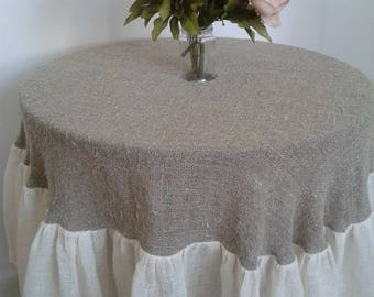Table cloth, round, round table, with a ruffle, linen, natural, coarse linens, two colors
