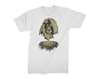 Mens T-Shirt - Gold Lion on Loose Fit Crew Neck Tee UK Streetwear Top