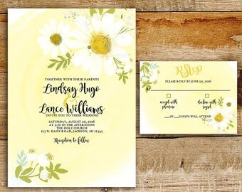 Daisy Wedding Invitation & RSVP | White Daisies | Yellow watercolor | printable wedding invitations