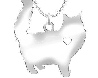 Fluffy Cat Necklace | Solid Sterling Silver | Fluffy Cat Silhouette Charm | Personalized Cat Jewelry | Fluffy Cat Earrings