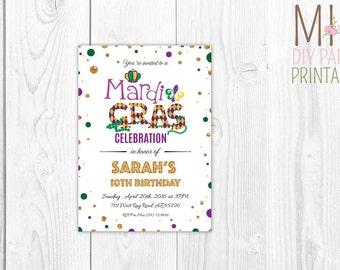 Mardi gras birthday inviteMasquerade Party Invitation,Mardi Gras Invitation. Masquerade Theme,Mask Invitation,Masquerade, Mardi Gras