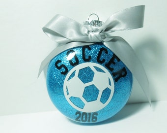 Personalized Soccer Ornament - Glitter Christmas Ornament - Gift for Soccer Player - Soccer Coach Gift - Personalized Ornament