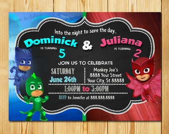 PJ Mask Dual Birthday Invitations,  Pj Mask Sibling Birthday invitation,5x7,Printed or Digital File*** FREE SHIPPING