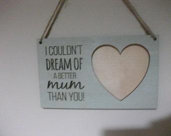 Mum Photo Frame // Best Mum // Personalised // Wooden Heart Frame // Photo Frame  - duck egg blue