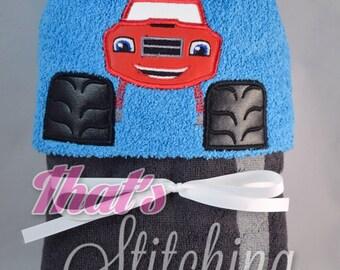 Blaze monster truck inspired Hooded Bath Towel