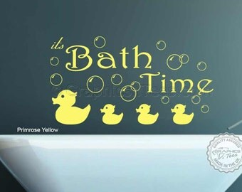 Bathroom Wall Sticker, Bath Time Quote with Bubbles & Ducks, Wall Art Decor Decal