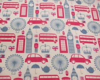 "I ""Heart"" London, London Buses, Big Ben British Printed Polycotton Fabric. Price Per Metre"