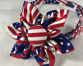Patriotic Dog Collar, 4th of July Dog Collar. Red White and Blue Dog Collar, Flag Puppy collar, Choose Collar Flower or bow tie