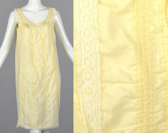 Large Summer Cotton Nightgown Loose Night Gown Vintage 1960s 60s Lightweight Tucks Lace Sleepwear Lingerie