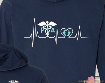Monogrammed PTA Physical Therapy Assistant Shirt Hoodie Comfort Colors Beautiful Colors Physical Therapist Assistant