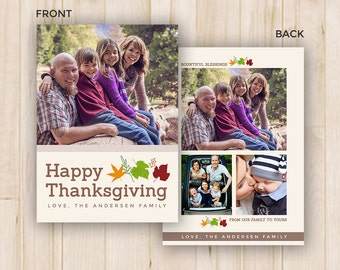 Thanksgiving Photo Card Template - Photoshop PSD *INSTANT DOWNLOAD*