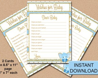 Baby Shower, Baby Wishes, Blue and Gold Elephant, Boy, DIY, Instant Download, Printable, 5x7, Party Favor, Game, PDF and JPG