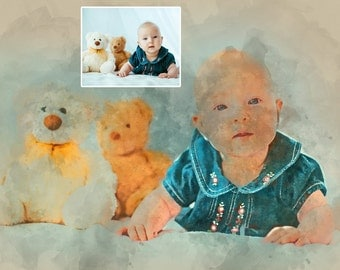 Custom Watercolor Portrait from Photo, Personalized Watercolor Painting from Photo, Photo into Digital Watercolor Art, Custom Painting Gift