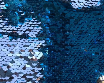 129e7dff4 Mermaid Shiny Turquoise Silver NewTwo Tone Flip up sequins Reversible  Sequins Fabric by the yard