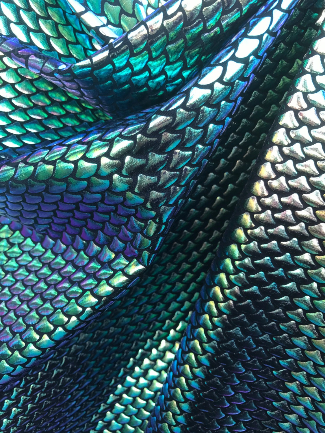 New Mini Iridecent Tone Mermaid Fish Scales Fabric Sold By